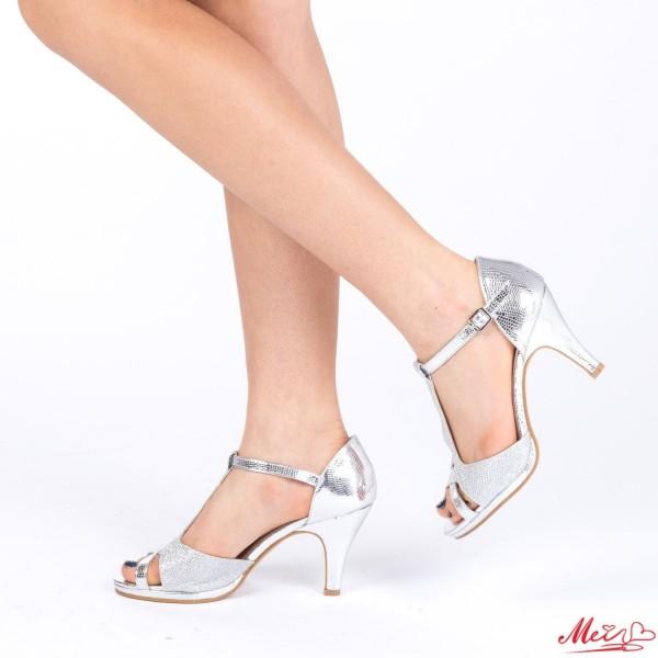 Sandale Dama cu Toc WT27 Silver Mei