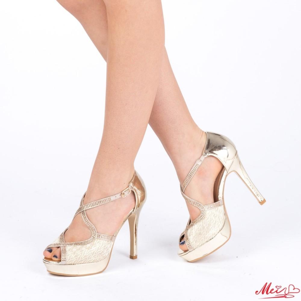 Sandale Dama cu Toc si Platforma WT28 Gold Mei