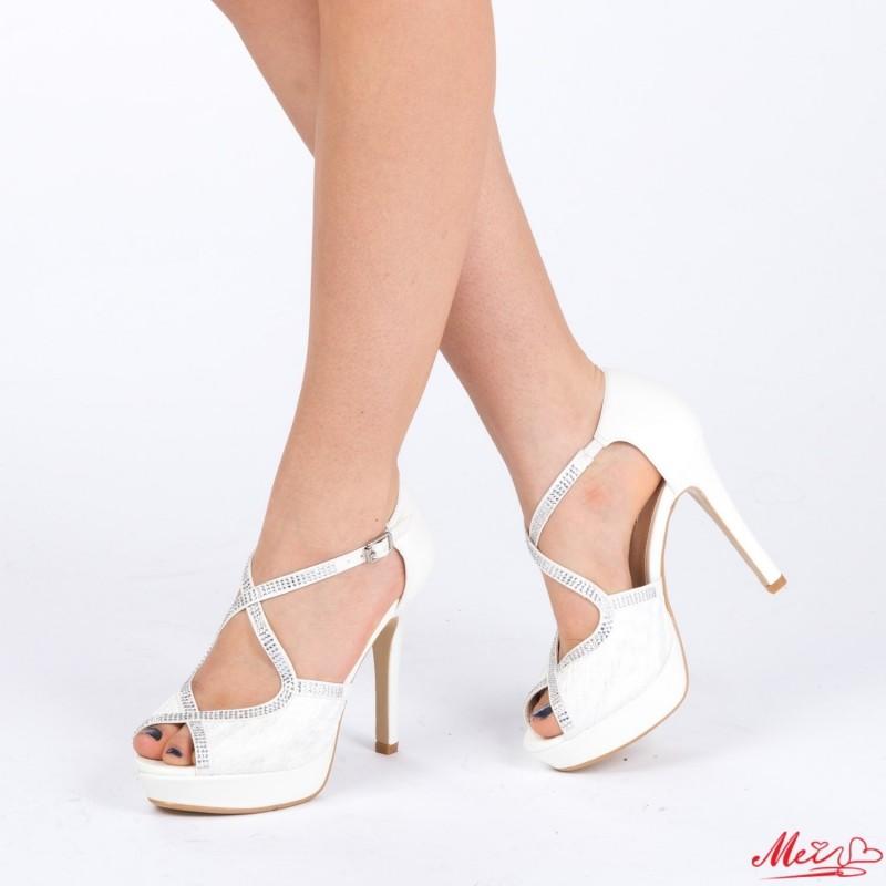 Sandale Dama cu Toc si Platforma WT28 White Mei