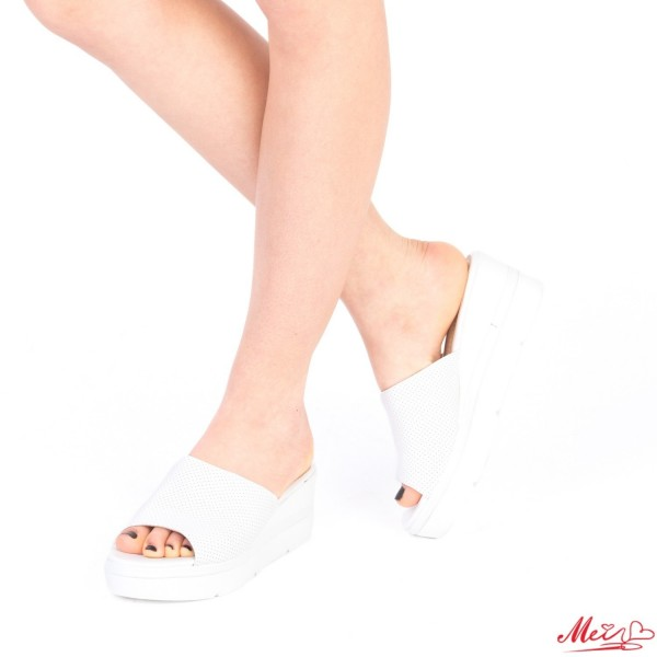 Papuci Dama cu Platforma WT36 White Mei