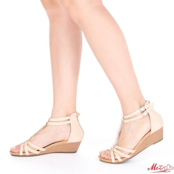 Sandale Dama cu Toc WT61 Beige Mei