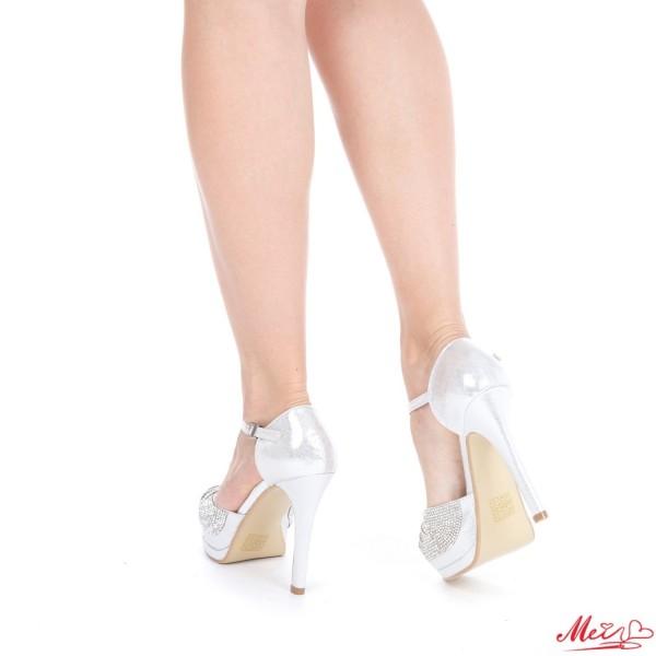 Sandale Dama cu Toc si Platforma WT64 Silver Mei