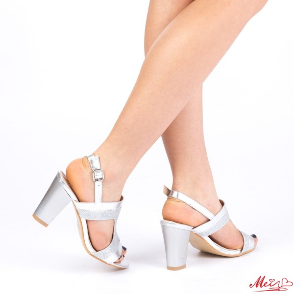 Sandale Dama cu Toc WT83A Silver Mei