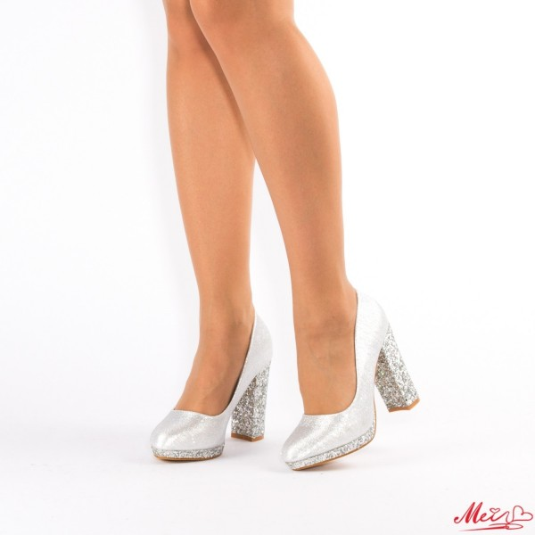 Pantofi cu Toc XD27 Silver Mei
