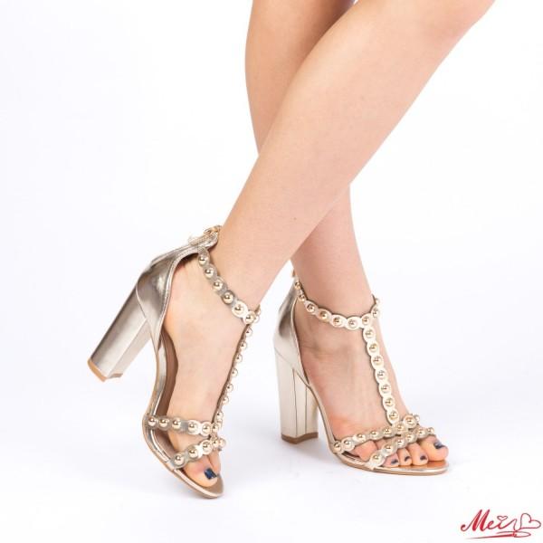 Sandale Dama cu Toc XD62 Gold Mei