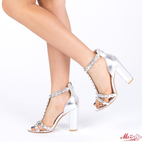 Sandale Dama cu Toc XD62 Silver Mei