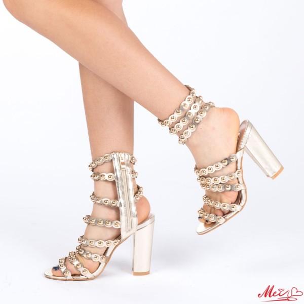Sandale Dama cu Toc XD66 Gold Mei