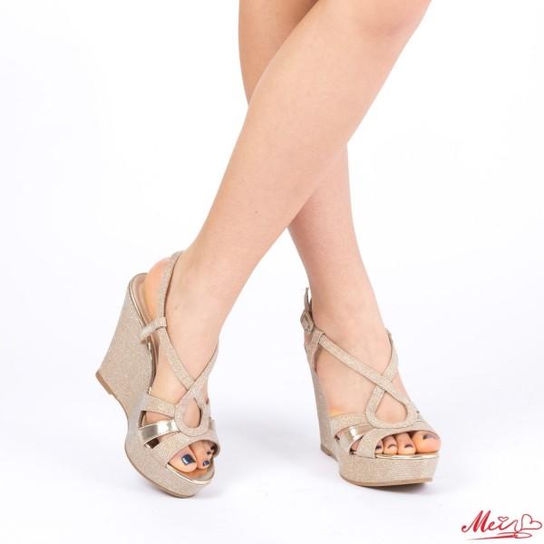 Sandale Dama cu Toc si Platforma XD70 Gold Mei