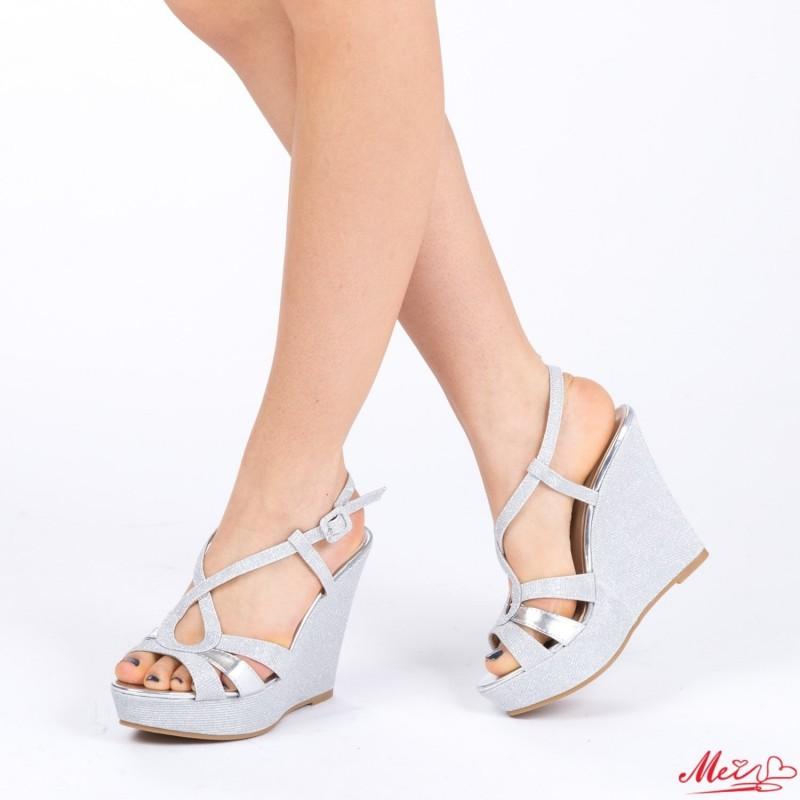 Sandale Dama cu Toc si Platforma XD70 Silver Mei