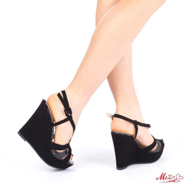 Sandale Dama cu Toc si Platforma XD70A Black Mei