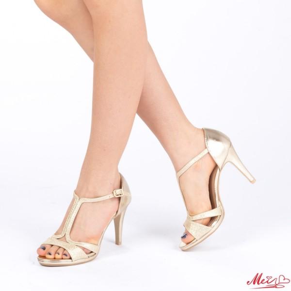 Sandale Dama cu Toc XD71 Gold Mei