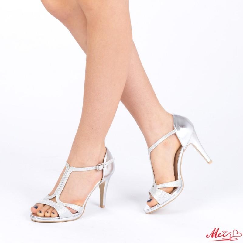 Sandale Dama cu Toc XD71 Silver Mei