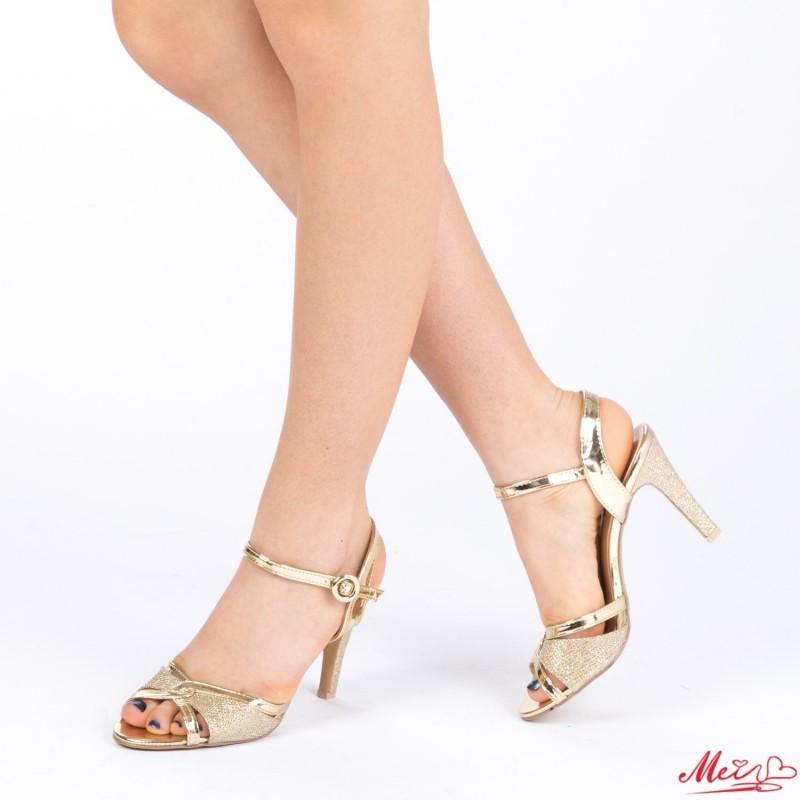 Sandale Dama cu Toc XD76 Gold Mei