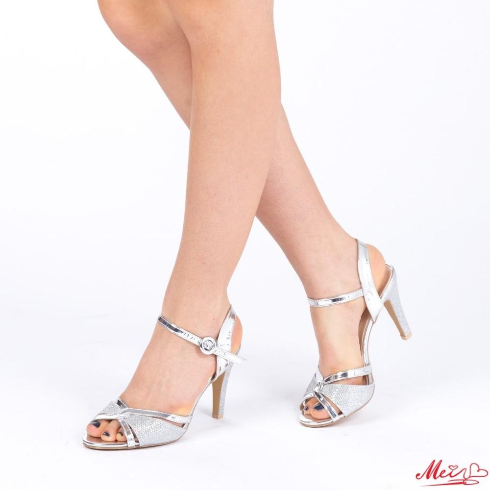 Sandale Dama cu Toc XD76 Silver Mei
