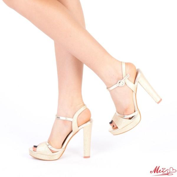 Sandale Dama cu Toc si Platforma XD82 Gold Mei