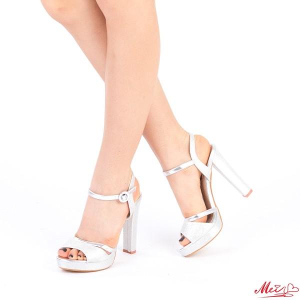 Sandale Dama cu Toc si Platforma XD82 Silver Mei
