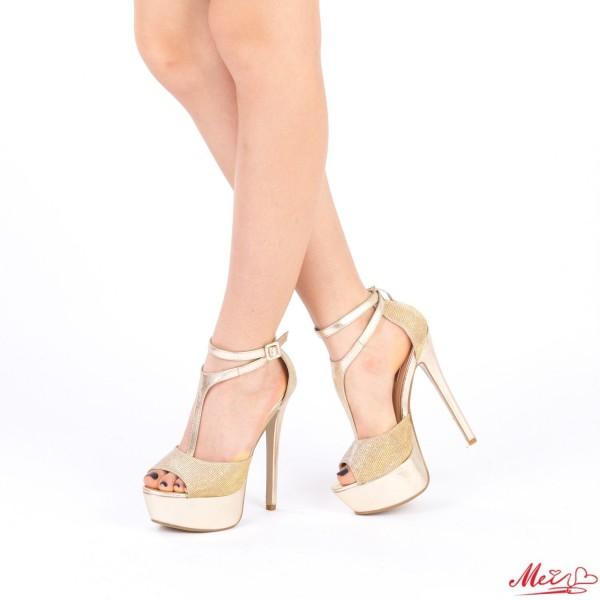 Sandale Dama cu Toc si Platforma XKK100 Gold Mei