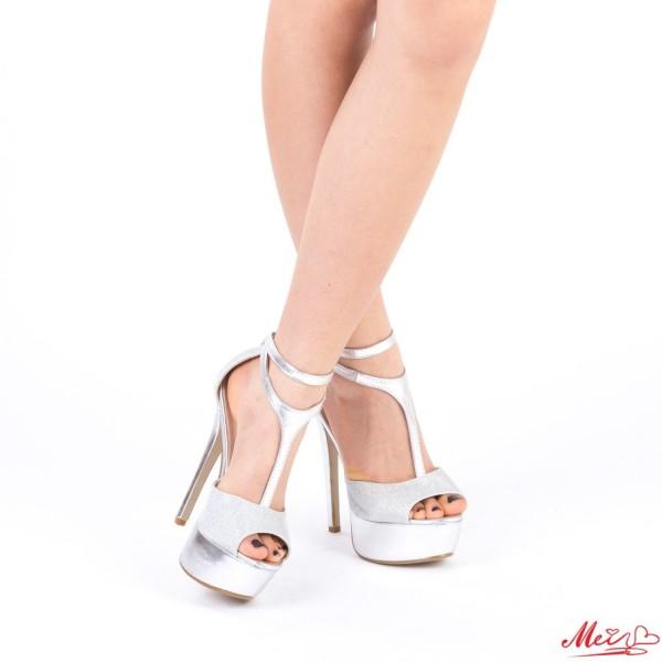 Sandale Dama cu Toc si Platforma XKK100 Silver Mei