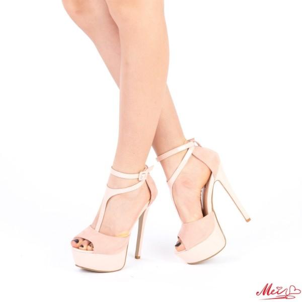 Sandale Dama cu Toc si Platforma XKK100 Pink Mei