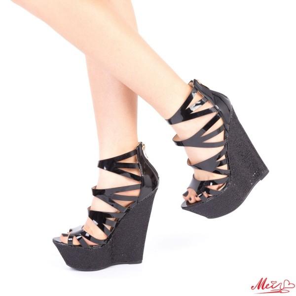Sandale Dama cu Platforma XKK109A Black Mei