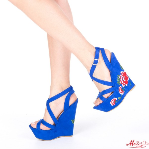Sandale Dama cu Platforma XKK28 Blue Mei