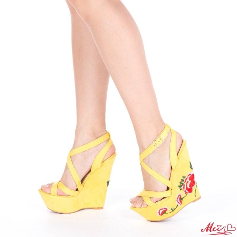 Sandale Dama cu Platforma XKK28 Yellow Mei