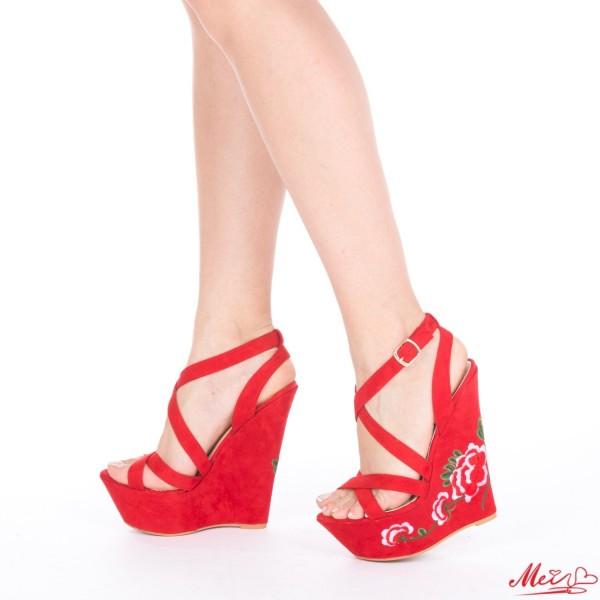 Sandale Dama cu Platforma XKK28 Red Mei