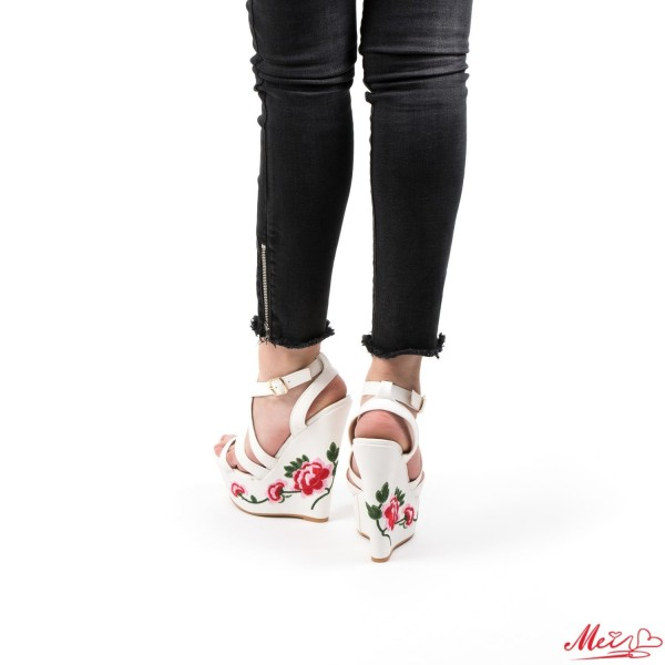 Sandale Dama cu Platforma XKK28 White Mei