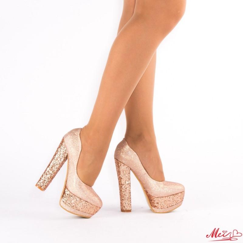 Pantofi cu Toc si Platforma XKK65 Champagne Mei