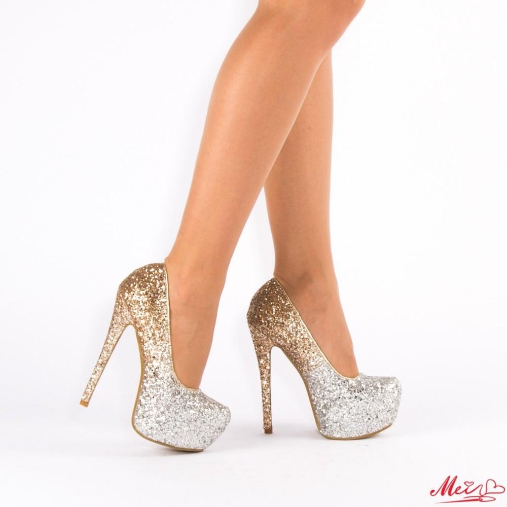 Pantofi cu Toc si Platforma XKK76 Gold Mei