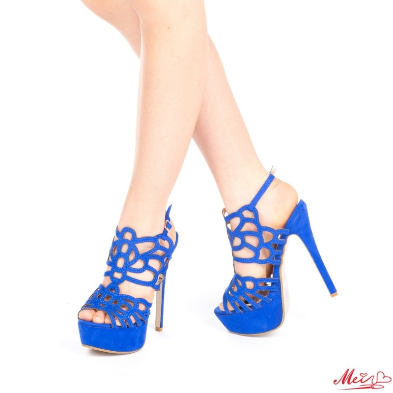 Sandale Dama cu Toc si Platforma XKK85 Dark Blue Mei