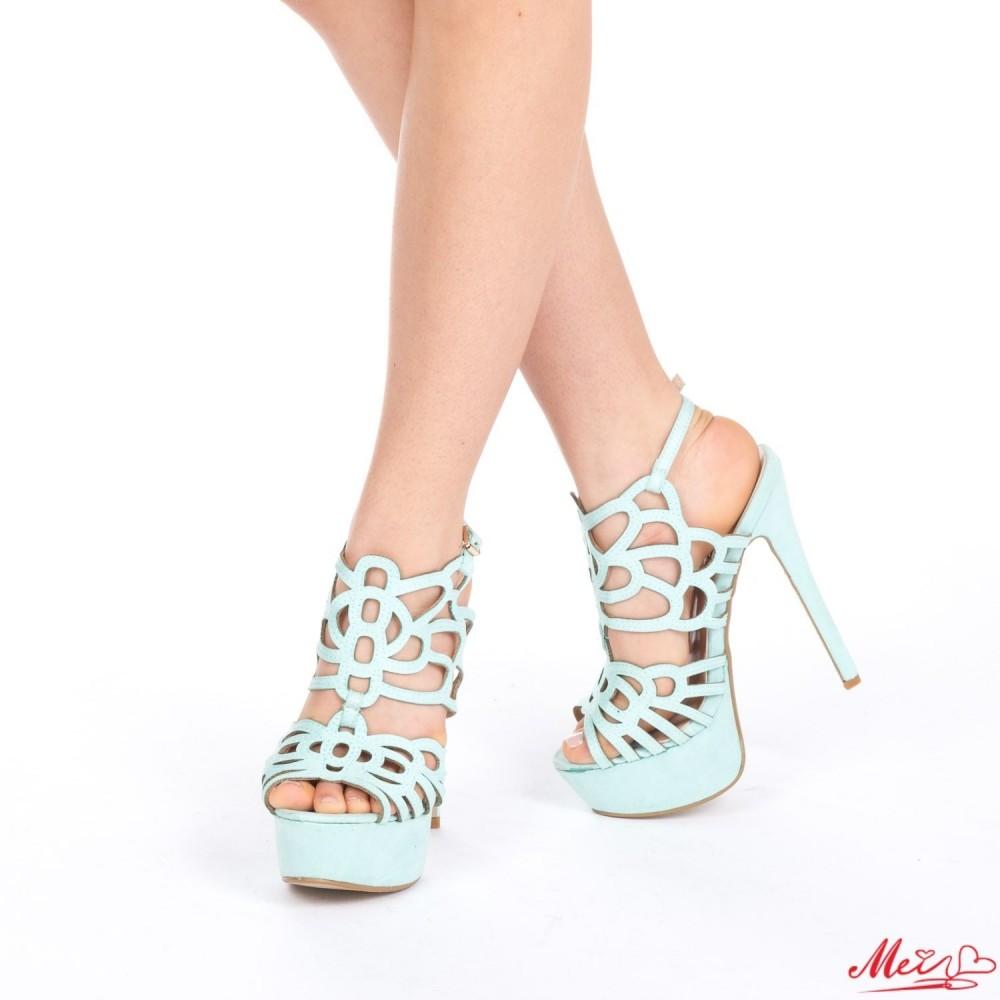 Sandale Dama cu Toc si Platforma XKK85 Blue Mei