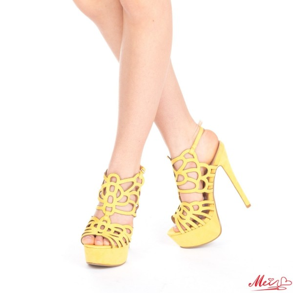 Sandale Dama cu Toc si Platforma XKK85 Yellow Mei