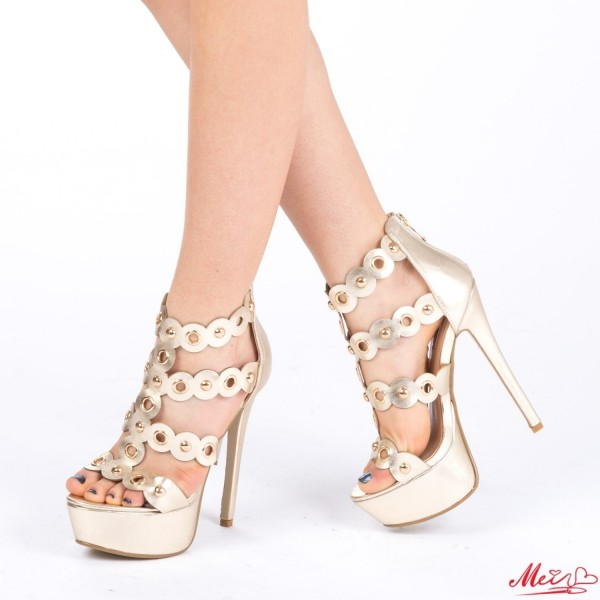 Sandale Dama cu Toc si Platforma XKK96 Gold Mei