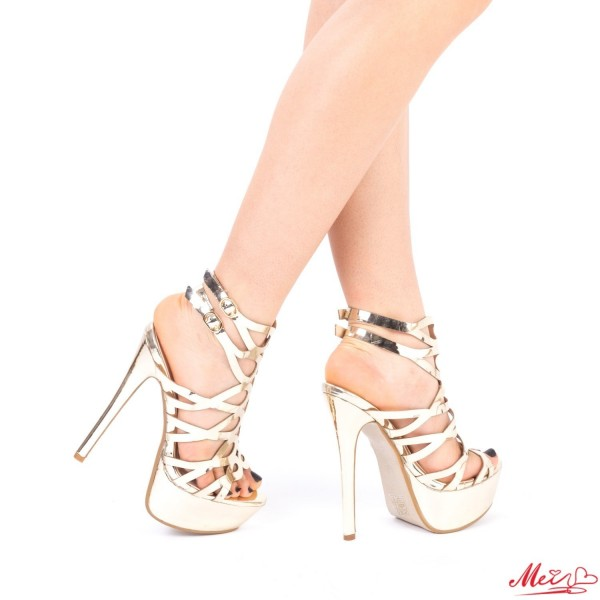 Sandale Dama cu Toc si Platforma XKK97 Gold Mei