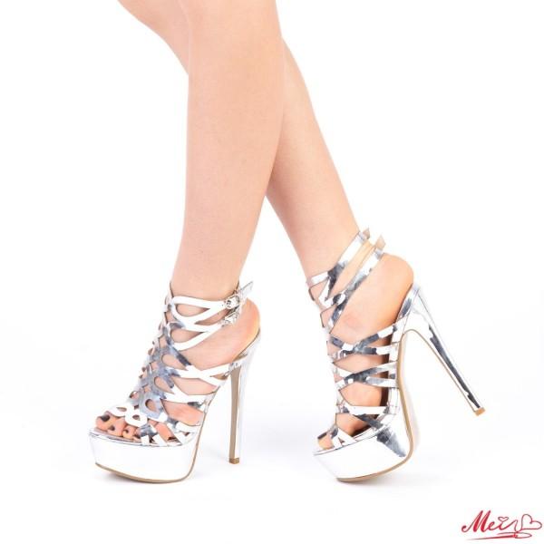 Sandale Dama cu Toc si Platforma XKK97 Silver Mei