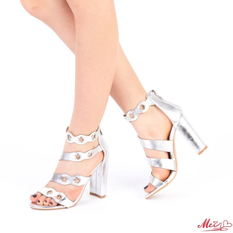 Sandale Dama cu Toc XKK98 Silver Mei