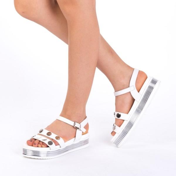 Sandale Dama cu Platforma CS15 White Mei