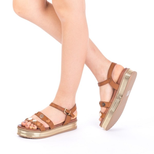 Sandale Dama cu Platforma CS15 Brown Mei