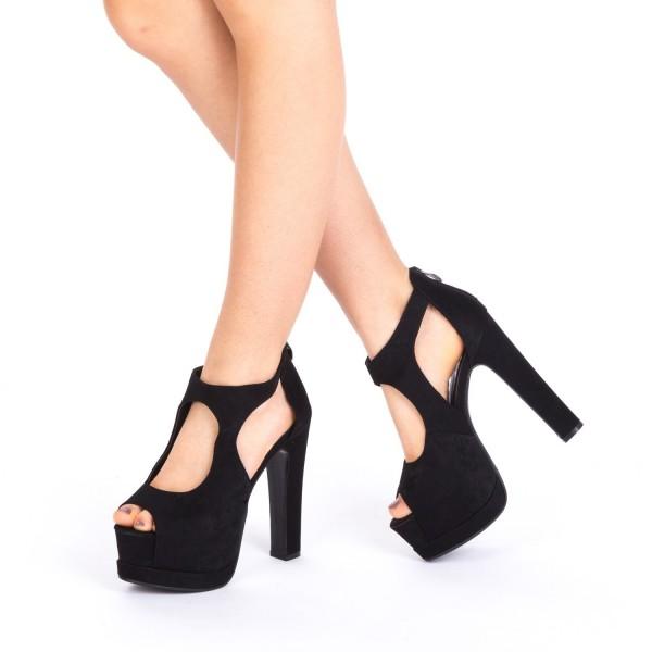 Sandale cu Toc si Platforma HLX35 Black Mei