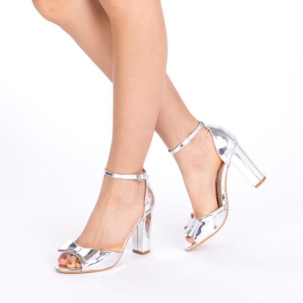 Sandale cu Toc HLX50 Silver Mei