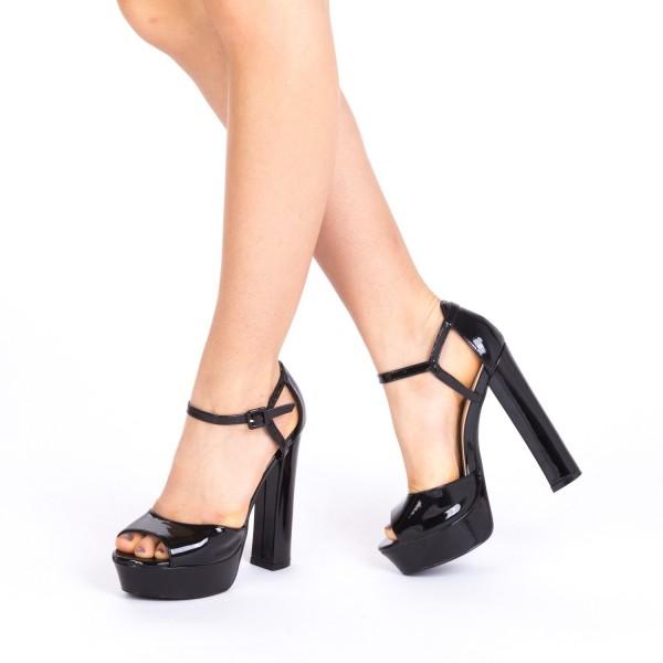 Sandale cu Toc si Platforma LE166 Black Mei
