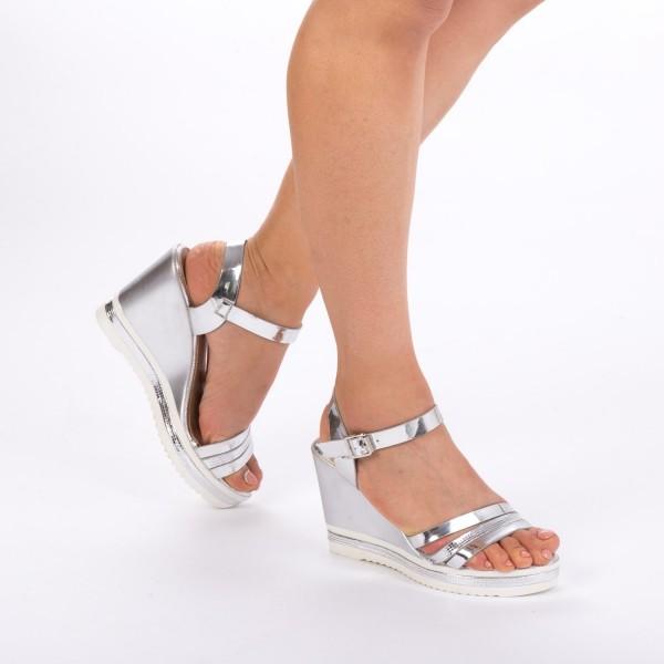 Sandale cu Toc si Platforma LM133 Silver Mei
