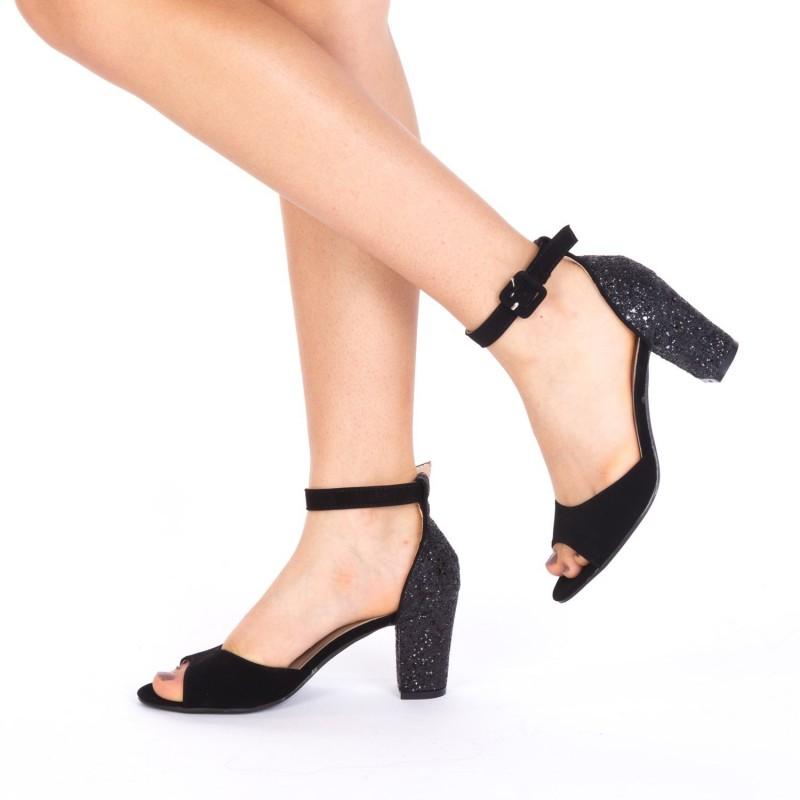Sandale cu Toc QZL180 Black Mei