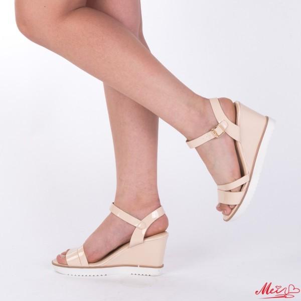 Sandale cu Toc si Platforma WT165 Beige Mei