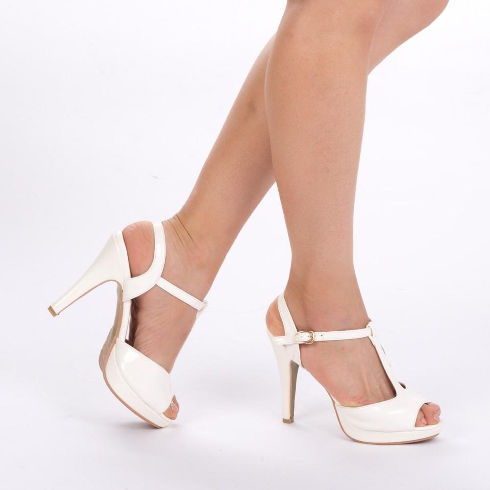 Sandale cu Toc Y226 White Mei