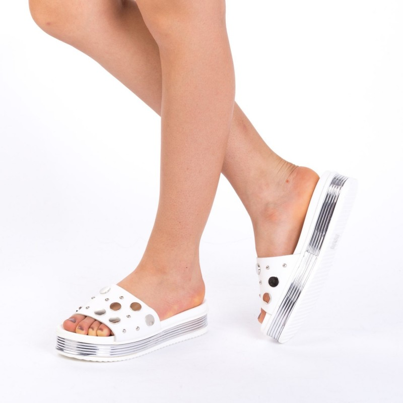 Papuci Dama cu Platforma CS17 White Mei