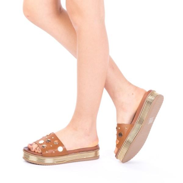 Papuci Dama cu Platforma CS17 Brown Mei