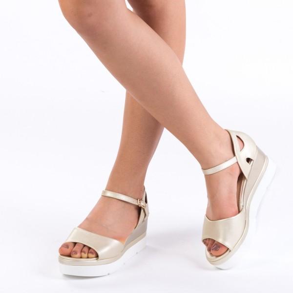 Sandale cu Toc si Platforma LM236 Gold Mei