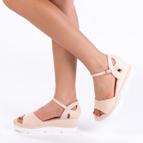 Sandale cu Toc si Platforma LM236 Beige Mei